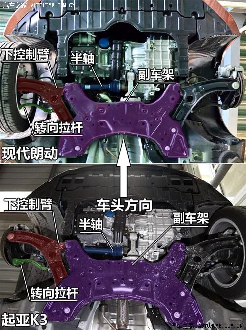 油箱材质不同 现代朗动起亚k3底盘对比高清图片